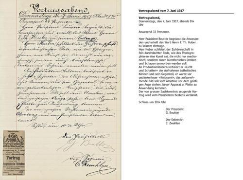Seite aus den handschriftlichen Protokollen mit Abschrift.